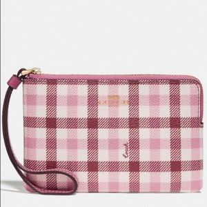 Coach NWT Pink Plaid/Gingham Wristlet